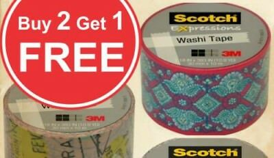 Buy 2 Get 1 Free (Add 3 To Carrito) 3m Scotch Expressions Washi Tape Rollos 3cm