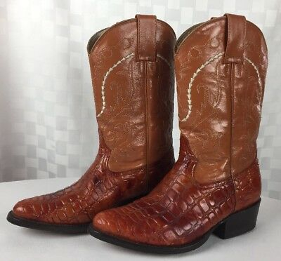 62b157e0a2c VTG BROWN ISRAEL BOOTS Western Cowboy Alligator Embossed Leather Womans Sz  7.5