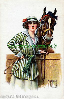 1917 Rappini~Art Deco~Well Dressed Woman w Hat &Whip~Horse~ NEW Large Note Cards