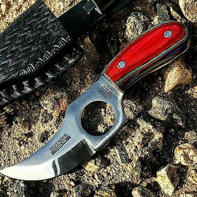 """6"""" Hand Made Fixed Blade Gut Hook Skinning Knife Hunting Bowie Skinner Survival"""