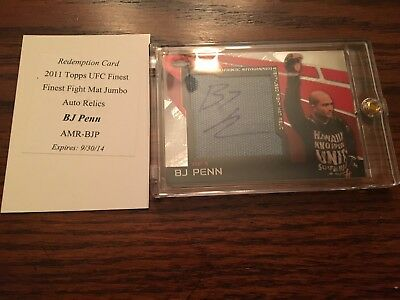 BJ Penn 2011 Topps Finest Jumbo Mat Auto With Redemption Card(redeemed)