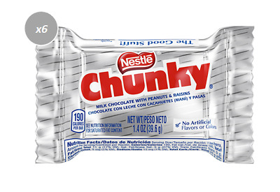 915049 6 x 39g BARS NESTLE CHUNKY MILK CHOCOLATE WITH PEANUTS & RAISINS