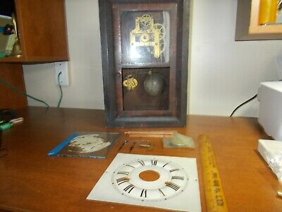 1860s SETH THOMAS 30 HOUR TIME+CHIME+ ALARM SMALL OGEE CLOCK, PARTS/RESTORE