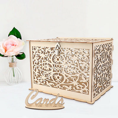 Wooden Wedding Card Box Wedding Advice Box with Lock DIY Gift Rustic Party Favor