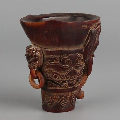 Chinese Exquisite Hand-carved Elephant Carving OX Horn cup