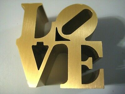 Robert Indiana Love Paperweight Brushed Aluminum Gold Indiana Museum of Art