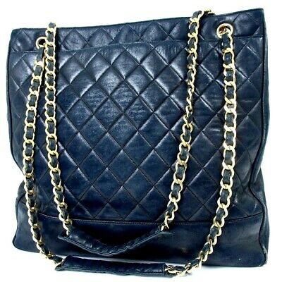 20f6eade20a4 Authentic CHANEL Matrasse Large Tote Chain Shoulder Bag Lambskin[Used]