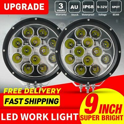 2X 9 Inch 240W LED Round Work Light Spot Flood Driving HeadLamp Offroad SUV ATV