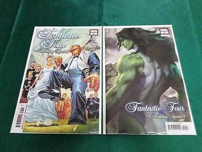 FANTASTIC FOUR WEDDING SPECIAL 1 Main A + Artgerm Lau Variant Set 2018 NM+ 12/12