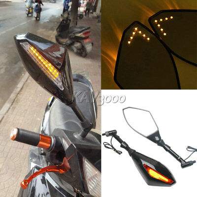 LED Turn Signal Rearview Mirrors For Honda Kawasaki Yamaha Ducati Street Bike
