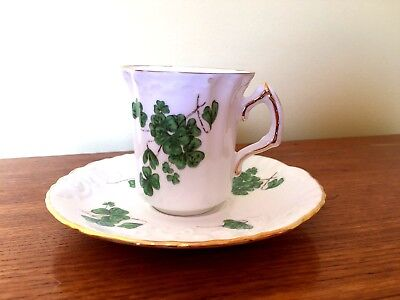 Hammersley Lucky Shamrock Bone Chine Cup and Saucer H23 Made in England