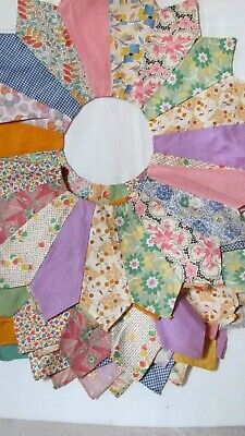 """4 DRESDEN PLATE QUILT BLOCKS 17.5"""" across LARGE c1930-45 pointed edge HAND-pc'd"""