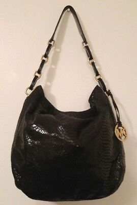 2fb315d66444 MICHAEL KORS BLACK Snakeskin Embossed Leather Hobo Handbag - $75.00 ...