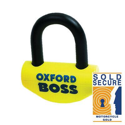 Oxford Big Boss Disc lock -16mm shackle Motorcycle Yellow Thatcham Sold Secure