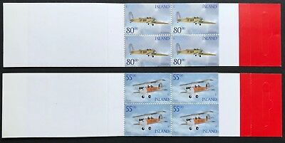 2001 Iceland Historic Aircraft 55kr 80kr Pair of Booklets MUH Pristine