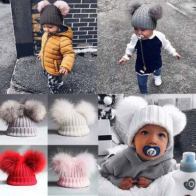 UK Newborn Baby Boys Girls Pom Hats Winter Warm Crochet Knit Bobble Beanie Cap