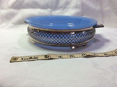 Vintage Agee glass/pyrex blue sprayware serving dish with stand