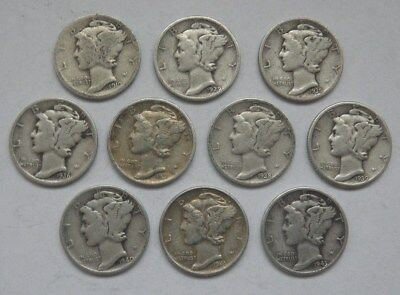 Lot of 10 (ten) Silver Mercury Dimes - coins dated 1919 to 1943 D, 90% silver.