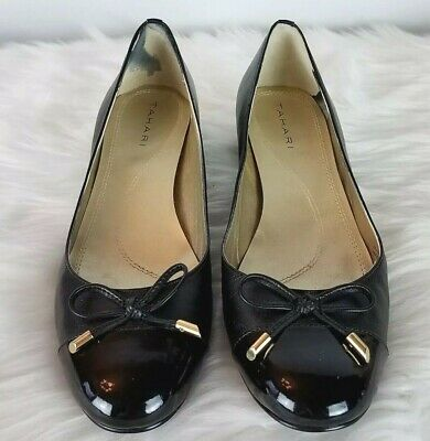f8062360834 TAHARI Womens Maisy Black Bow Gold Hardware Classic Leather Pumps Size 6.5M  NWD