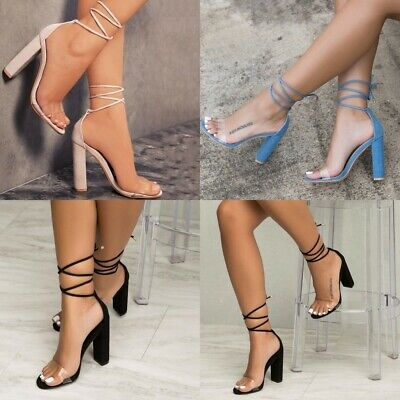 deafea7ce2c Womens Ankle Strap Block High Heels Ladies Open Toes Lace Up Shoes Size 5 -8.5