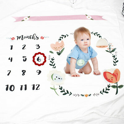 Newborn Baby Infants Milestone Blanket Mat Photography Prop Monthly Growth Gift