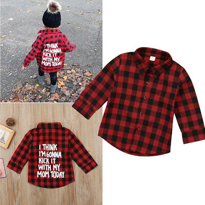 Toddler Kid Baby Girl Plaid Long Sleeve T-shirt Letter Prints Top Outfit Clothes
