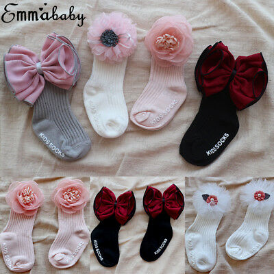UK Spanish Romany Baby Girls Kids Tutu Socks Bowknot Knee High Party Xmas Gifts