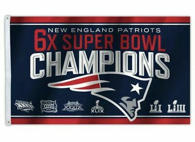 New England Patriots 6x Times SUPER BOWL CHAMPIONS FLAG 3x5 BANNER Super Bowl 53