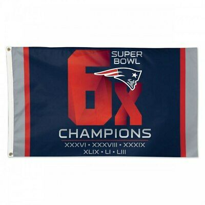 New England Patriots 6x Times SUPER BOWL 53 CHAMPIONS FLAG 3x5 BANNER 2019