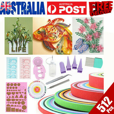 512 Strips Quilling Paper Tools DIY Craft Mixed Kits Kid Toy Scrapbook Handcraft