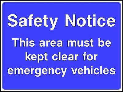 This area must be kept clear for emergency vehicles Road Safety Sign