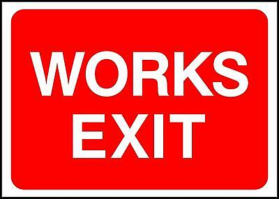 Warning Works Exit Road Safety Sign