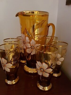 Antique Water Pitcher Set Hand Painted And Heavily Gilded In Mint Condition.
