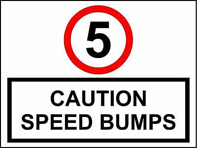 5 mph Caution speed bumps sign