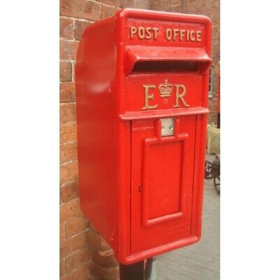 Royal Mail ER Red Postbox Letter Box - Cast Iron - Lockable with Keys