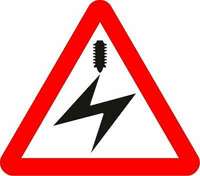 Overhead electric cable Road safety sign