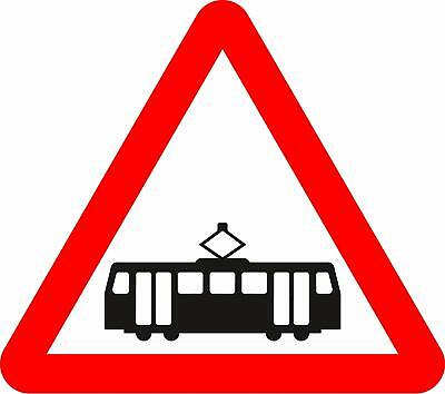 Trams crossing ahead Road safety sign
