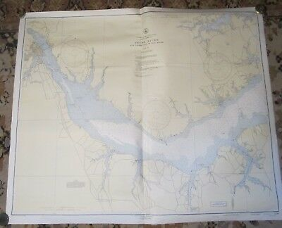 1946 NORTH CAROLINA Nautical Chart -- Neuse River, NEW BERN, Oriental, BAY RIVER