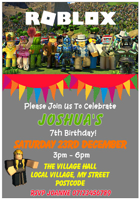 Personalised Childrens Roblox Party Invitations With Envelopes