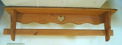 VTG Custom Made Quilt Rack Wall Hanging Shelf w/ Sliding Quilt Bar Wood heart