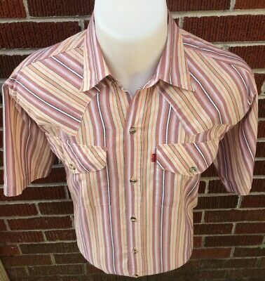 "Vintage Levi's Red Tab Big ""e"" Short Sleeve Striped Shirt Men's Size Large"