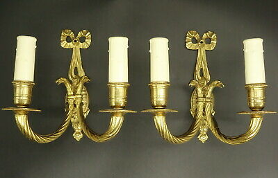 Pair Sconces, Eagle, Louis Xvi Style - Hettier Vincent - Bronze - French Antique