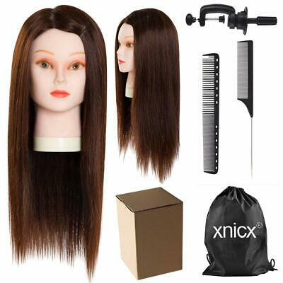 Hairdressing Training Head Mannequin Real Hair Practice Styling Braiding Cutting