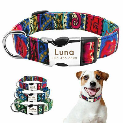 Personalized Dog Fabric Collar Metal ID Name Engraved Tag for D Ring Bulldog S-L