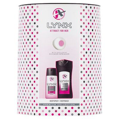 Lynx Gift Set, Attract for Her. With Shower Speaker Body Wash and Spray