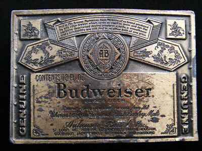 RF07118 VINTAGE 1970s **GENUINE BUDWEISER LAGER BEER** ADVERTISEMENT BELT BUCKLE