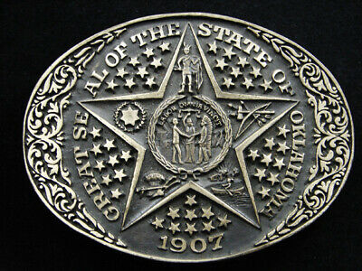 RH13154 VINTAGE 1980s **OKLAHOMA STATE SEAL** COMMEMORATIVE SOLID BRASS BUCKLE