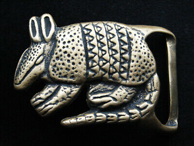 RH13145 VINTAGE 1970s CUT-OUT **ARMADILLO** SOLID BRASS BELT BUCKLE