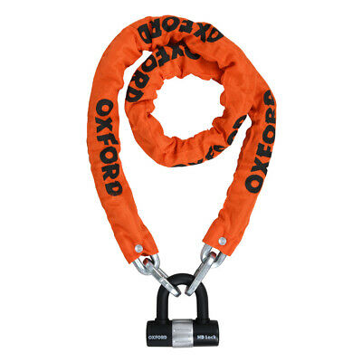 Oxford Hd 1.5 Chain U Lock Orange Motorcycle Scooter Bike Cycle Sold Secure