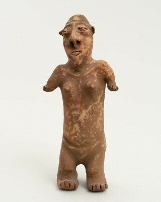 "Pre-Columbian Jalisco Nayarit 11"" Clay Pottery Figure Standing Female Effigy"
